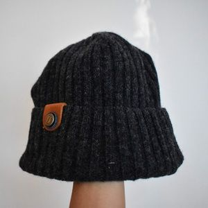 Accessories - Dark Grey Knit Hat with Decorative Clasp